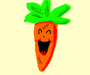 Excited carrot with stitching