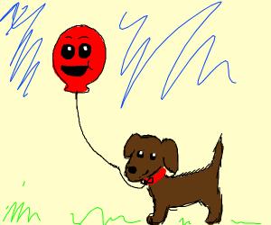 balloon taking dog for a walk