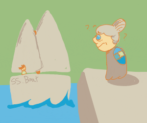 Old woman looks at a boat; confused.
