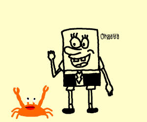 spongebob in a tuxedo talking with crab
