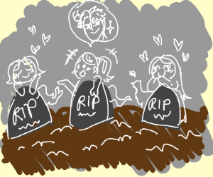 ghost visits her dead friends at the cemetary