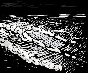 ocean shore in total darkness