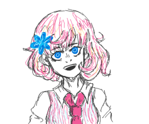 Anime girl with pink hair and a blue flower