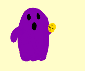 Purple ghost with sad face on hisyellow hand