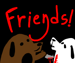 brown dog is hurting white dog friend