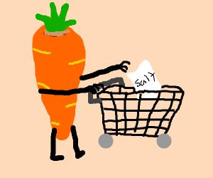Carrot puts salt in his shopping cart