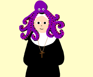 Nun wearing an octopus as a hat