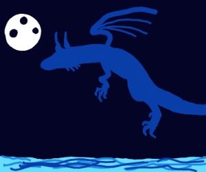 Dragon flying over the ocean at night