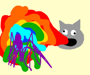 A rainbow barfing on the screen