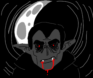 creepy cresent moon,blood dripping from mouth