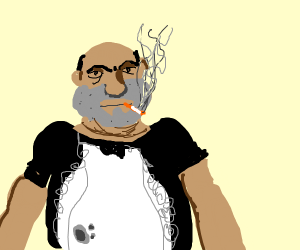 man in a maid costume smoking a cigar