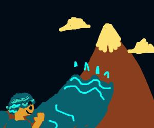 water boi wants to give mountain a bath