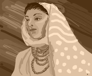 Woman wears a shawl and several necklaces