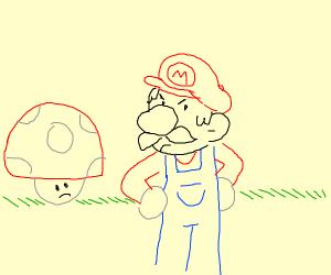 mario mad sad at mushroom