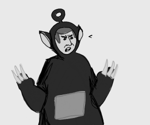 Adam Sandler as a teletubby with claws