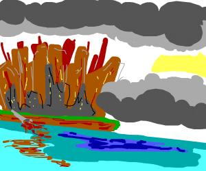 Apocalyptic city's waterfront