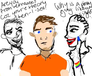 Gay men flirting with a man