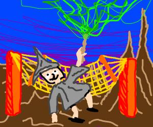 Dumbledore in a large hammock