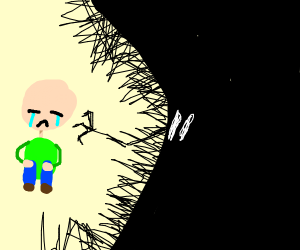 shadow monster harasses crying bald man