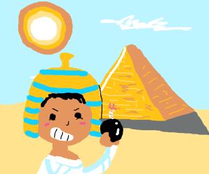 Pharaoh holding a bomb