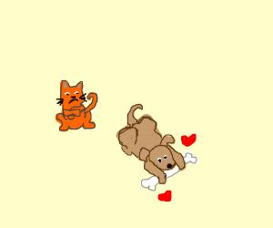 cute dog loves bone, cute cat dislikes dog