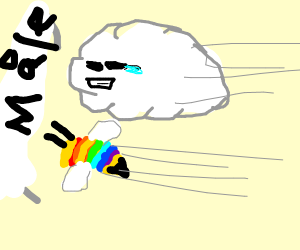 rainbow bee racing with a cloud