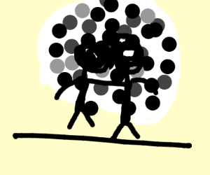Two people silhouetted by the moon