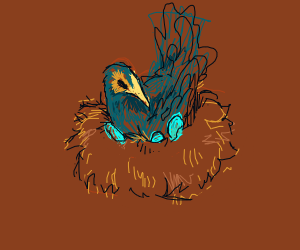 bird nest with blue egg