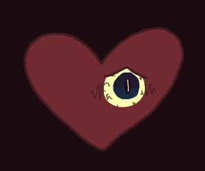 heart with one eye is worried