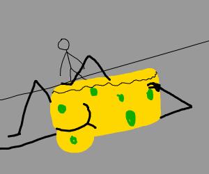 stickfigure disapproving of naked spongebob
