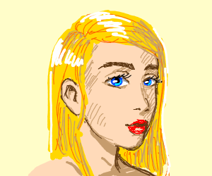 Realistic blonde lady with blue eyes