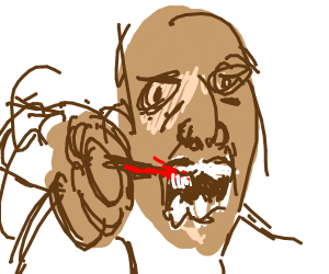 A person is brushing his teeth