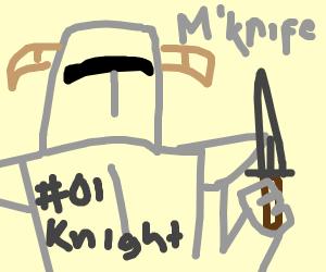 A knight raising his knife