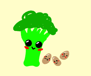 Broccoli with its 3 egg children