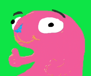 Pink creature gives thumbs up