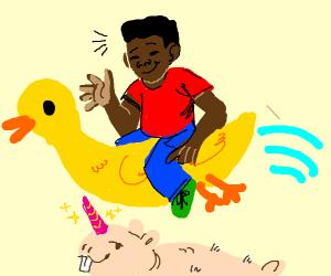 Man rides duck above nakef mole rat unicorn