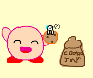 Kirby steals from the cookie jar.