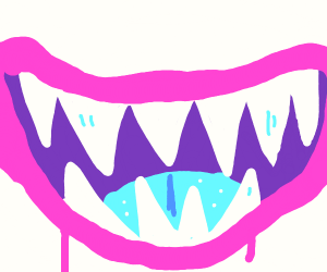 Joker with blue tongue (only his mouth showin