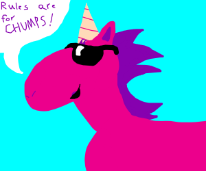 A Rad unicorn not listening to rules