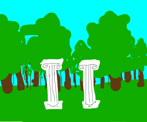 roman pillars in front of a forest