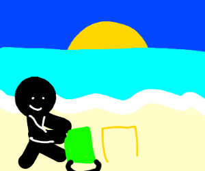Man making sand castle