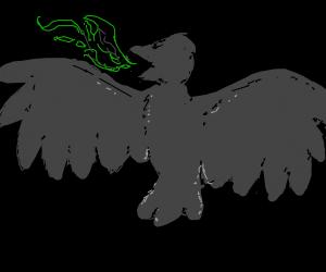 Bird dragon breathes green fire