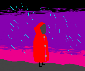 Tall red riding hood in a rainstorm