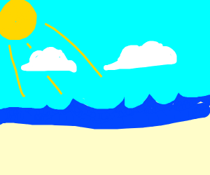 beach with waves, a blue sky and 2 cloud