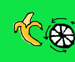 A banana and a wheel