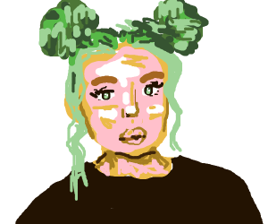 Blonde girl w/ green eyes and space buns