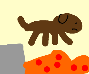 Dog jumping into lava to kill itself