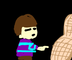 Undertale human points to a peanut