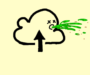 The Cloud Upload icon has food poisoning