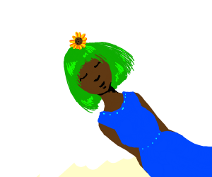 Girl with green hair and a flowrt